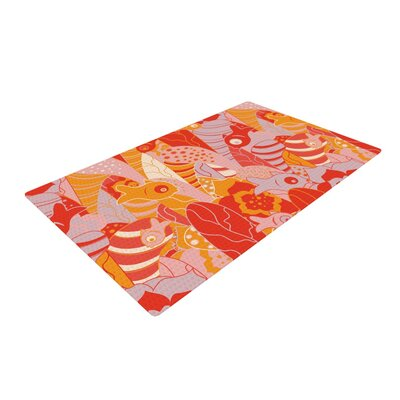 Akwaflorell Fishes Here, Fishes There Orange/Red Area Rug Rug Size: 4 x 6
