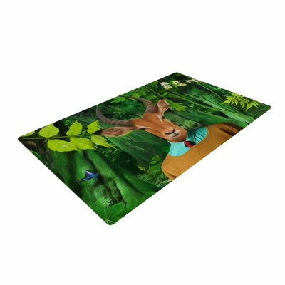 Natt into the Leaves N4 Antelope Green Area Rug