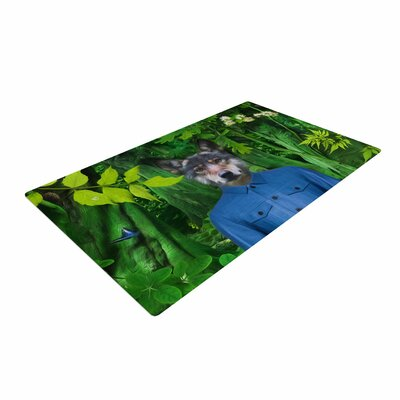 Natt into the Leaves N3 Wolf Green Area Rug