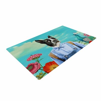 Natt Family Portrait N3 Dog Blue Area Rug