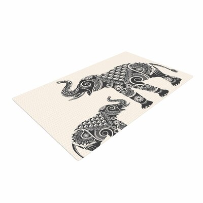 Famenxt Ornate Indian Elephant-Boho Black/Beige Area Rug Rug Size: 2 x 3