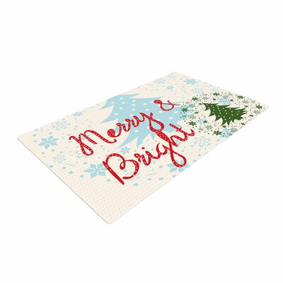 Famenxt Merry And Bright Holiday Typography Red/Green/Blue Area Rug Rug Size: 4 x 6