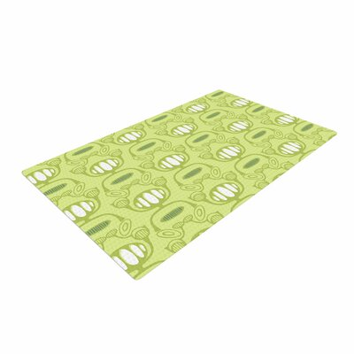 Holly Helgeson Flower Power Pattern Green Area Rug Rug Size: 2 x 3