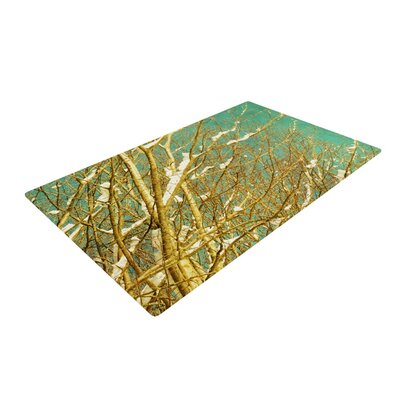 Iris Lehnhardt Snow Covered Twigs Teal/Brown Area Rug