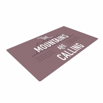 Jackie Rose The Mountains Are Calling Typography Purple Area Rug