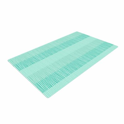 Holly Helgeson Mod Grass Lines Teal Area Rug Rug Size: 4 x 6