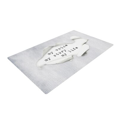 Ingrid Beddoes My Life Paper Text Light Gray Area Rug