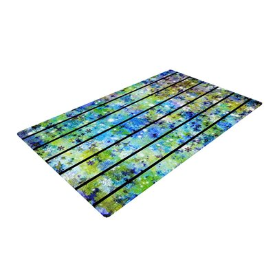 Ebi Emporium Stripes and Snowflakes Blue/Green Area Rug Rug Size: 2 x 3