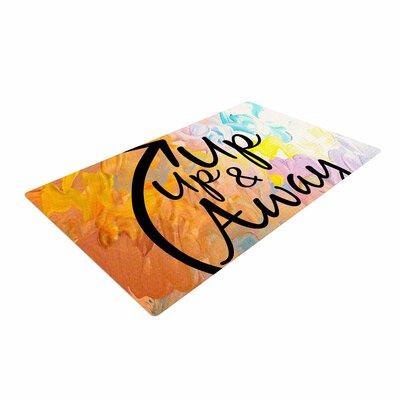 Ebi Emporium Up Up and Away Typography Orange Area Rug Rug Size: 4 x 6