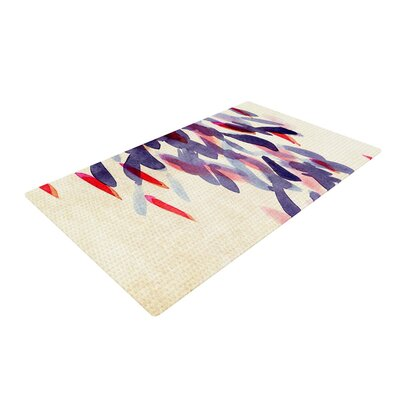 Iris Lehnhardt Abstract Leaves IV Tan/Purple Area Rug