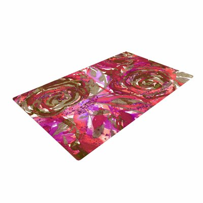 Ebi Emporium Rose Combustion Coral Floral Maroon/Red Area Rug Rug Size: 4 x 6