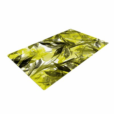 Ebi Emporium Floral Fiesta Floral Painting Yellow Gray Area Rug