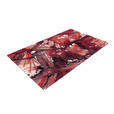 Ebi Emporium Birds of Prey Watercolor Red/Black Area Rug