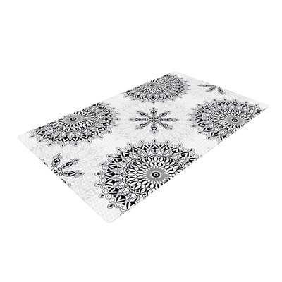 Julia Grifol Mandala White/Black Area Rug Rug Size: 4 x 6