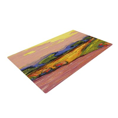 Jeff Ferst Pastoral View Painting Green/Pink Area Rug Rug Size: 2 x 3