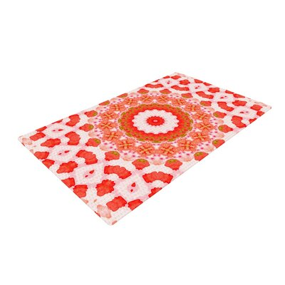 Iris Lehnhardt Mandala I Red/Orange Area Rug Rug Size: 2 x 3