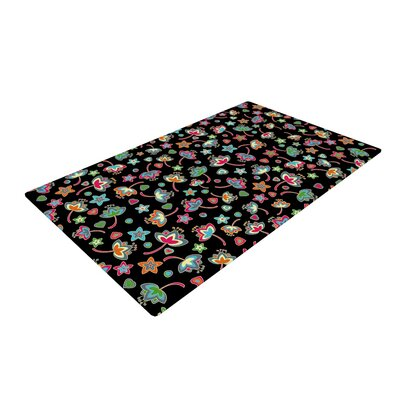 Julia Grifol Sweet Flowers Black/Green Area Rug Rug Size: 2 x 3