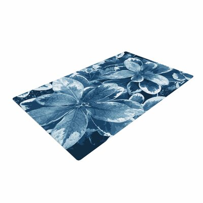 Julia Grifol Leaves Floral Blue Area Rug