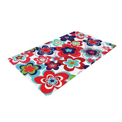 Jolene Heckman a Cheerful Morning Blue/Red Area Rug Rug Size: 2 x 3