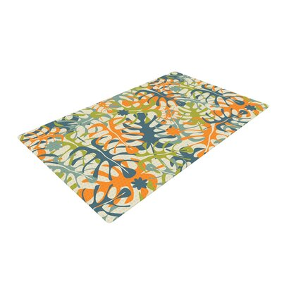 Julia Grifol Summer Tropical Leaves Green/Orange Area Rug Rug Size: 4 x 6