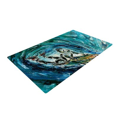 Josh Serafin Sponge Blue/Teal Area Rug Rug Size: 2 x 3