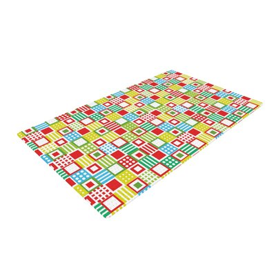 Julie Hamilton Colorful Check Checkered Red/Lime/White Area Rug
