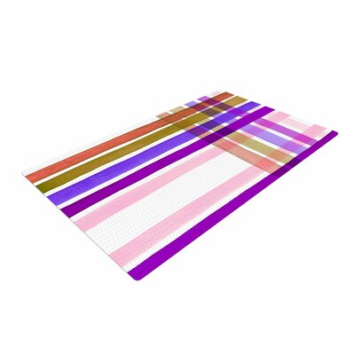 Ebi Emporium Plaid Stripes in Color 6 Pink/Purple Area Rug Rug Size: 4 x 6