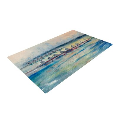 Josh Serafin Crew Rowing Blue/Orange Area Rug Rug Size: 2 x 3