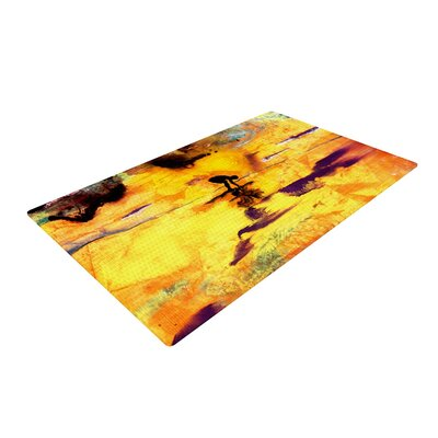 Josh Serafin Pool of Life Abstract Yellow Area Rug Rug Size: 2 x 3