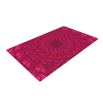 Patternmuse Mandala Spin Berry Geometric Pink Area Rug