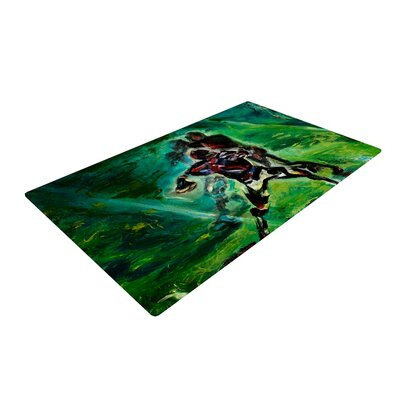 Josh Serafin 1st and 10 Baseball Green Area Rug Rug Size: 2 x 3