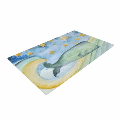 Jennifer Rizzo Swimming WIth the Stars Illustration Animals Blue/Yellow/Green Area Rug