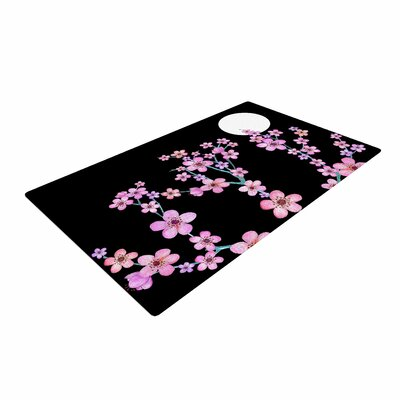 Julia Grifol Blossom At Night Pink/Black Area Rug Rug Size: 4 x 6