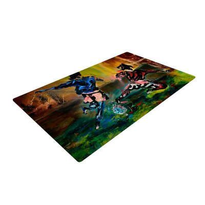 Josh Serafin Slidetackle Soccer Green/Blue Area Rug