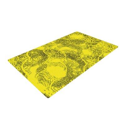 Patternmuse Mandala Lemon Yellow Area Rug