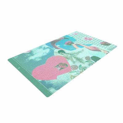 Jina Ninjjaga Flamingo Attack Pop Art Green/Pink Area Rug