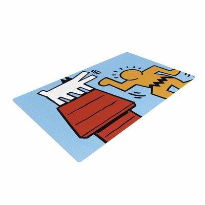 Jared Yamahata Haring-Schulz Illustration Pop Art Blue/Red Area Rug