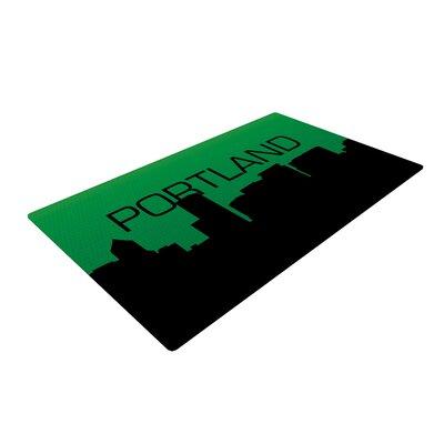 Portland Green/Black Area Rug Rug Size: 2 x 3