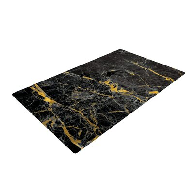 Fleck Marble Abstract Digital Black/Gold Area Rug
