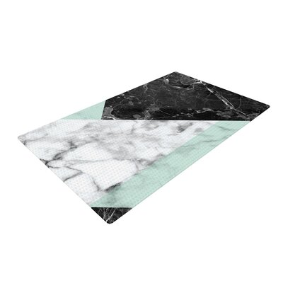 Geo Marble Art Deco Mint/Black Area Rug