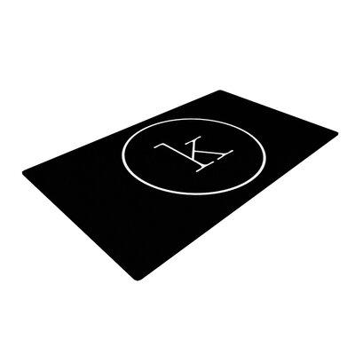 Simple Monogram Black Area Rug