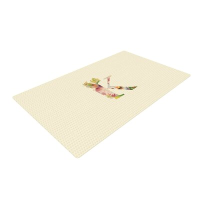 Floral Monogram Cream Area Rug