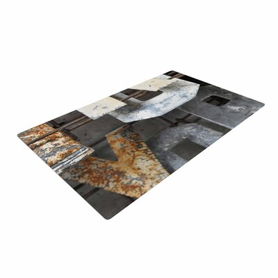 Jennifer Rizzo Patina Letters Gray/Brown Area Rug