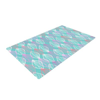 Julia Grifol My Leaves Pink/Aqua Area Rug Rug Size: 4 x 6