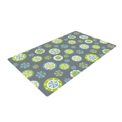 Julie Hamilton Snowflake Slate Winter Gray/Green Area Rug