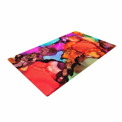 Abstract Anarchy Design Caldera #3 Pink/Teal Area Rug
