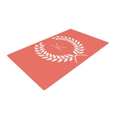 Wreath Monogram Pink/Coral Area Rug