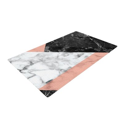 Geo Marble Art Deco Coral/Black Area Rug