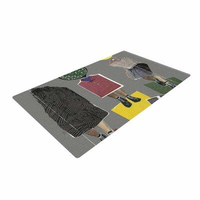 Jina Ninjjaga Fashion Pop Art Gray/Yellow Area Rug
