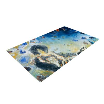 Josh Serafin Riders on the Storm Piano Player Blue/Gray Area Rug Rug Size: 2 x 3